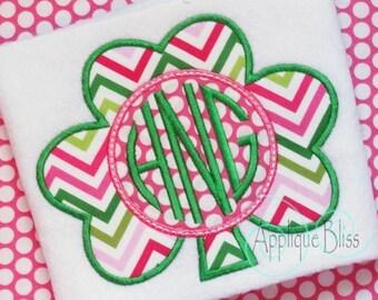 Monogram Shamrock Digital Applique Design - Clover - Shamrock - St. Patrick's Day - Monogram - Machine Embroidery