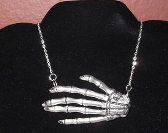 Hold Me Close Skeletal Hand Necklace