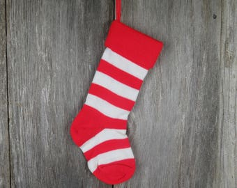 Christmas Stocking Knitted Knit Striped Vintage 1980s Red White      st4