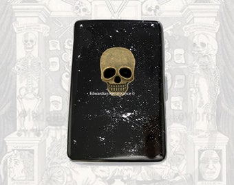 Skull Metal Cigarette Case Silver Inlaid in Hand Painted Enamel Black with Silver Splash Design with Color and Personalized Options