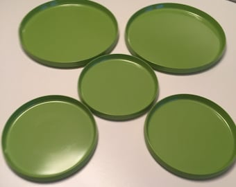 Melamine Plates Oblique by PMC Total of Five / Heller Style/ Retro Picnic Plates/JUST REDUCED By Gatormom13