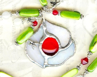 Necklace flower white stained glass dragonflies ❀ K156 pendant ❀