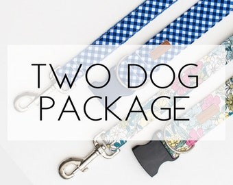 Two Dog Package- 2 Collars & 2 Leashes