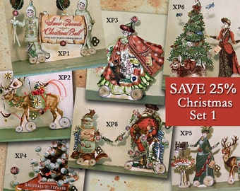 Christmas Paper Doll Decorations Or 3D Vintage Christmas Cards - INSTANT Download - Set Of 7 XP7XID