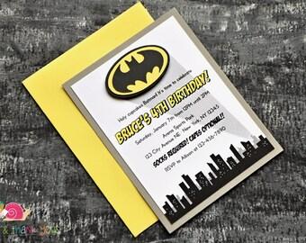 Batman Invitations · A2 LAYERED · Birthday Party   Superhero Party   Baby Shower   Comic Books