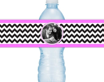 Wedding Photo Water Bottle Labels - CUSTOM Printable Chevron Water Bottle Labels, YOU print, you cut, DIY water bottle labels