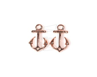 PDT-1176-PG/4Pcs-Mini Anchor Pendant/ 11mm x 16mm/rose Gold Plated Over pewter