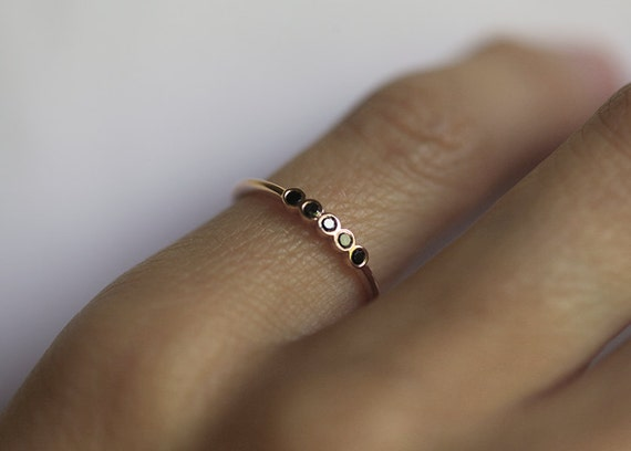Delicate Black Diamond Wedding Ring Thin Diamond Band Black