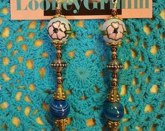 Blue agate flower earrings