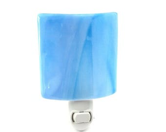 Night Light Plug In, Blue Marbled Art Glass