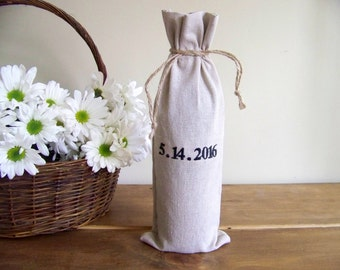 free shipping - personalized wine gift bag - wedding gift - engagement - anniversary - embroidered - wedding date - monogram