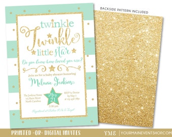 Mint Twinkle Twinkle Little Star Baby Shower Invitation, Twinkle Twinkle Shower Invite, Mint and Gold Star Invitation, Neutral Baby Shower