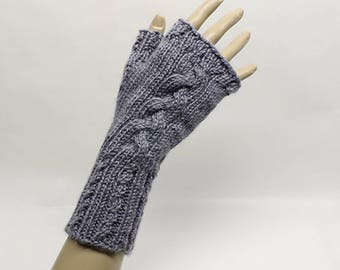 Cabled Fingerless Gloves in Heather Grey  FG007
