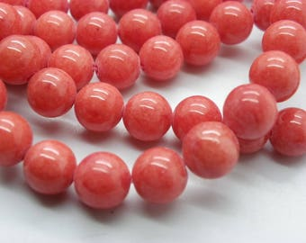 48 to 50 8 mm orange red Malaysia jade beads