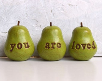 Mom gift // Green you are loved pears // Three handmade clay pears, perfect for gift giving