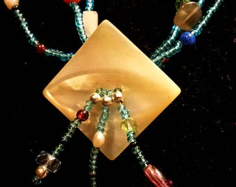 Splashes of Color, multi-colored gem, shell, glass and silver, three strand necklace