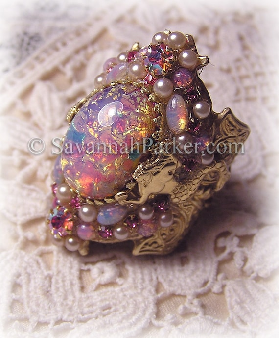 Antique Style Victorian Art Nouveau MERMAID Ring - Vintage Pink Glass Fire Opals - Mermaid Jewelry - Mermaid Ring - Pink Mermaids Style