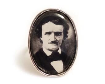 Edgar Allan Poe ring silver adjustable steampunk gothic goth unisex raven