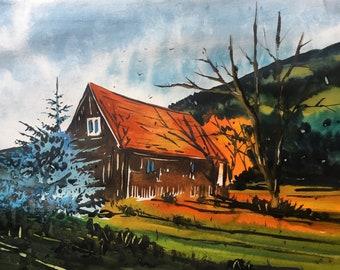 Original Watercolor Painting    Landscape painting    Watercolor painting  Original painting   Original art   Wall decor   art