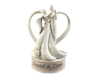 Personalized Embroidery Stylized Heart Dancing Wedding Cake Topper - 100315