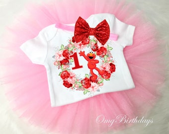 Elmo Red Pink Beautiful 1st First 1 year Birthday Shirt Tutu Tee Sequins Bow Headband Set Baby Girl Outfit Set Party Dress Custom
