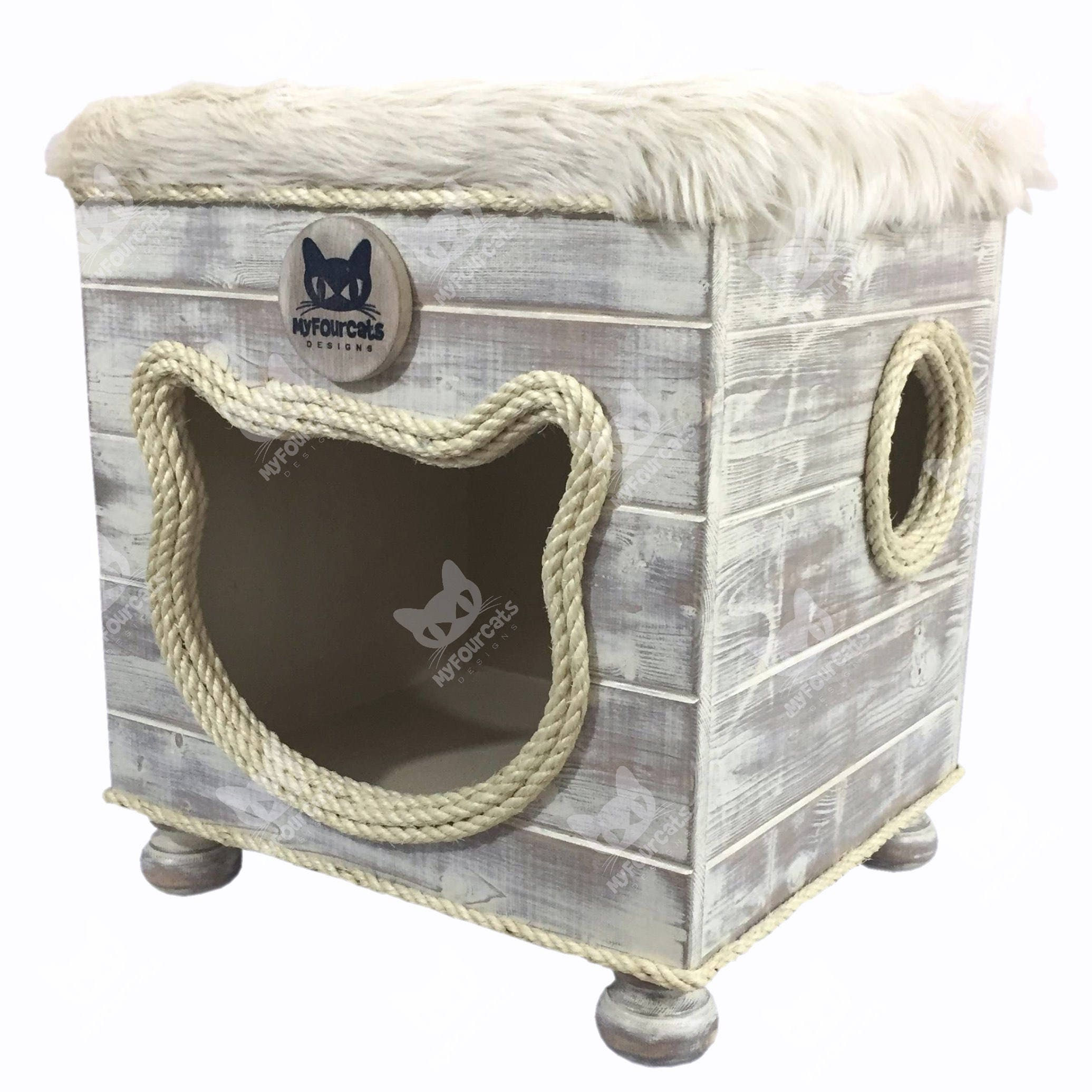 Cat House Pet House Pet Bed Cat Cottage Cat Bed Cat Cave Cat Play Furniture  Footstool Home Decor Shabby Chic Rustic
