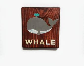Hand Painted 5 x 6 Whale Nursery Wall Decor