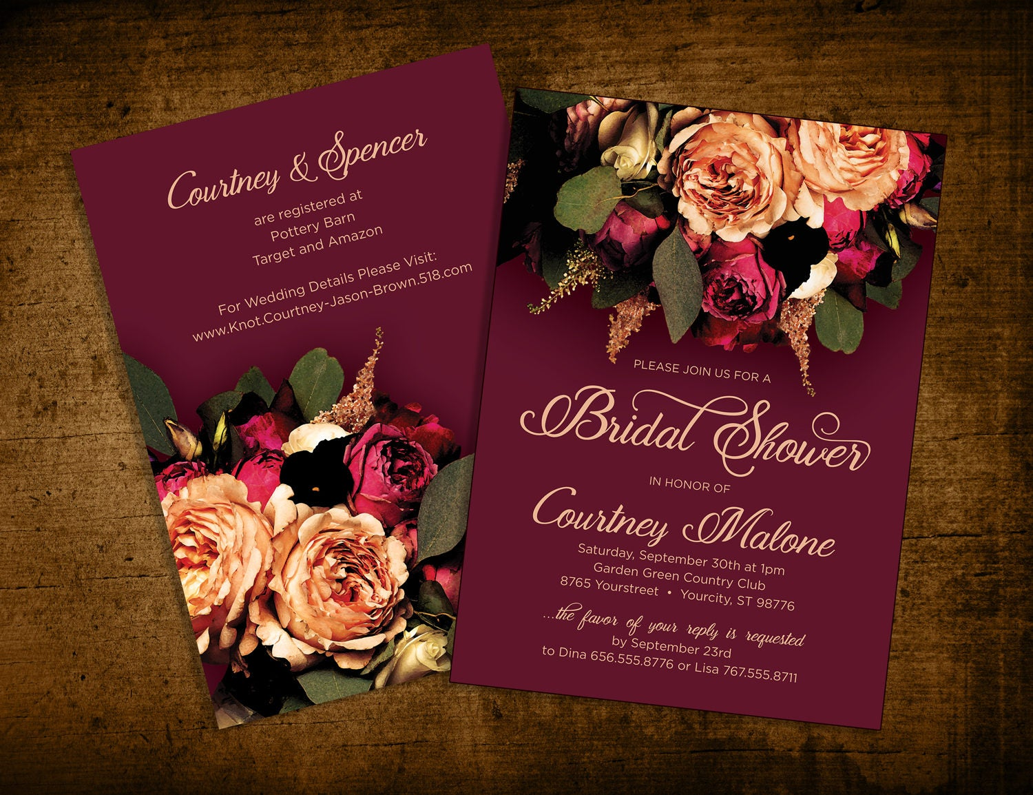 Invitation Wedding Bridal Shower Burgundy Peach Floral