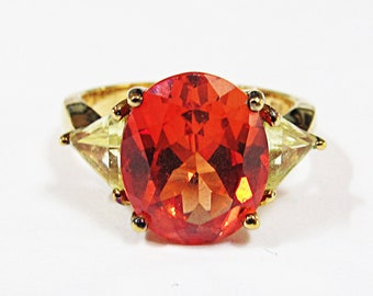 Vintage Sterling Silver Orange & Yellow CZ Ring