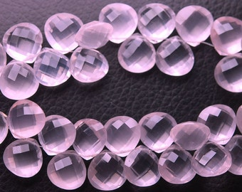 8 Match Pair, Super Rare AAA Natural Rose Quartz Faceted Heart Shape Briolettes Calibrated Size 12mm
