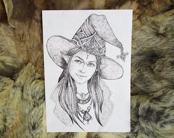 Wizard. Fantasy illustration. A4 Artprint.