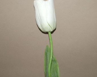 White Long Stem Tulip - PRE-ORDER -Artificial Flowers, Silk Flowers