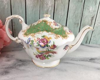 Paragon Large 6 cup Rockingham Teapot Green Chelsea Bird Vintage Excellent Fine Bone China
