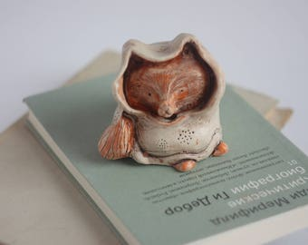 Ceramic Fox Sculpture/ Small Sculpture/ Fox in Hood/ Ceramic Statuette