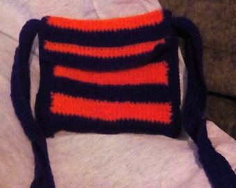 Purple and orange crocheted messenger purse