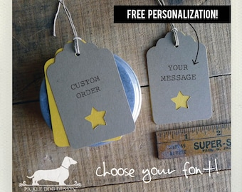 Natural Star. Personalized Gift Tags (Set of 12) -- (Vintage-Style, Bridal Shower, Baby Shower, Wedding Favor Tags, Gender Neutral, Simple)