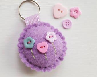 Pretty purple felt keyring. Felt bagcharm. Wedding favour. Book bag hanger