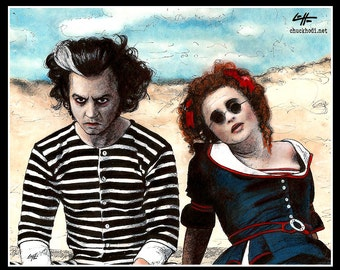 "Print 11x14"" - Sweeney Todd and Mrs. Lovett - Tim Burton Johnny Depp Helena Bonham Carter Pop Art Halloween Horror Demon Barber London Pop"
