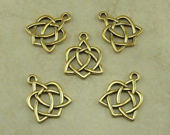 5 TierraCast Small Open Heart Celtic Knot Charms > Love Irish Triquetra - 22kt Gold Plated Lead Free Pewter - I ship Internationally 2389