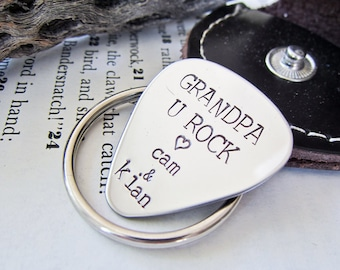 Hand Stamped Personalized Guitar Pick - Custom Stamped Stainless Steel with Name - ONE Pick & Keychain Pouch