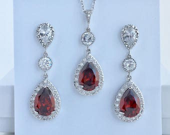 Red Bridal Jewelry Set Ruby Cubic Zirconia Jewelry Set Red Wedding Jewelry Set  Red Crystal Bridal Jewelry Set Red Bridesmaid Jewelry Set
