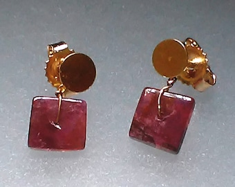 Circle Stud Square Dangle Earrings 14kt Yellow Gold Stud Earrings with Pink Tourmaline Heishi Bead Dangle Ear Jacket