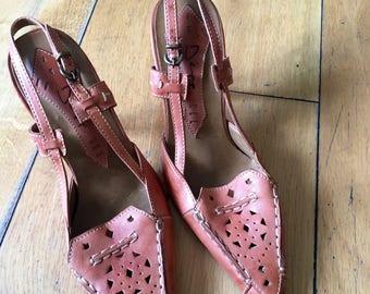 Vintage Leather Sling Back Heels, Sandals, Summer Shoes, Heels