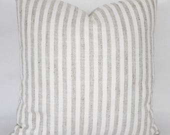 "18"" Tan and White Striped Pillow Cover - Designer Fabric - Striped Pillow Cover - Striped Accent Pillow - Tweed Contrast Back"