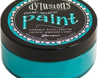 Dylusions Paint Turquoise Paint Matte Paint Journaling Paint Teal Paint Acrylic Paint Teal Acrylic Paint Vibrant Turquoise CLEARANCE >4.95