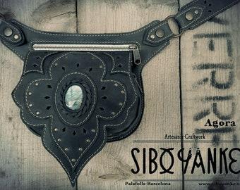 Leather Utility Belt - Festival Belt with Labradorite Stone by Sibo Yanke. Handmade Vegan Tanned Leather. //AGORA//
