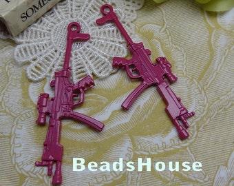 2pcs  High Quality Enameled Coating Gun Pendant/Charms,66 x 27mm - Red Bud