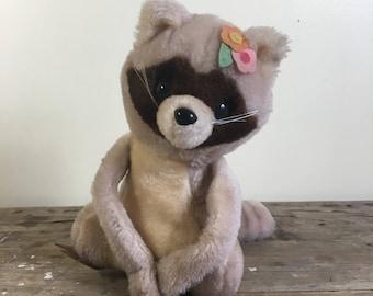 Raccoon stuffed toy, vintage 1979 Made in Korea, velcro hands