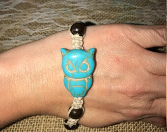 Owl Charm Hemp Bracelet