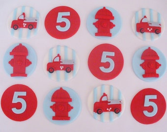 FIRETRUCK Edible Fondant Cupcake Toppers Personalized